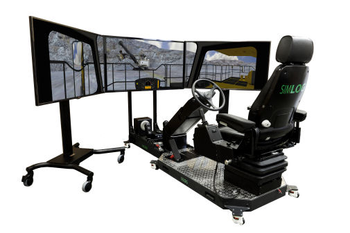 haul truck simulator with three screens