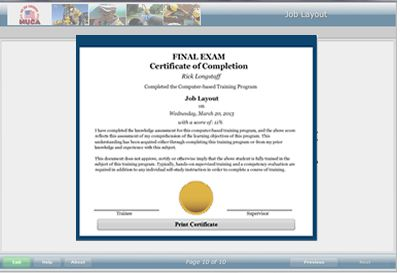 NUCA Pipe Layer Installation Series completion certificate